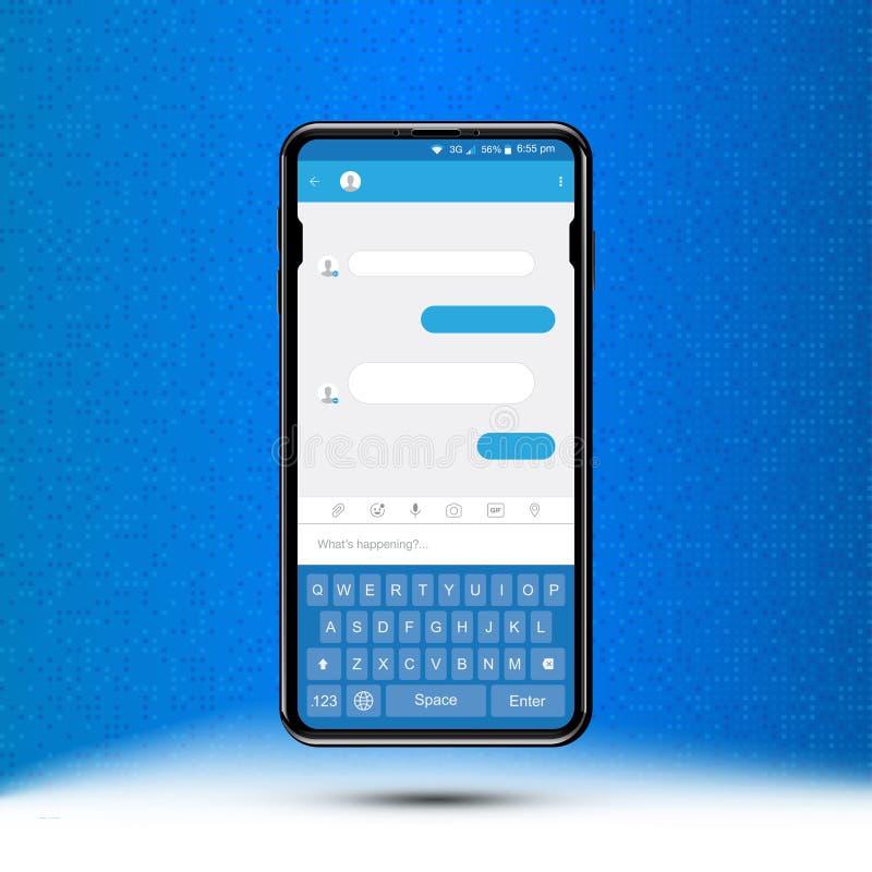 Nytt meddelande i realistisk smartphone Socialt begrepp och en pratstund på internet med ett tangentbord Plan vektorillustration vektor illustrationer
