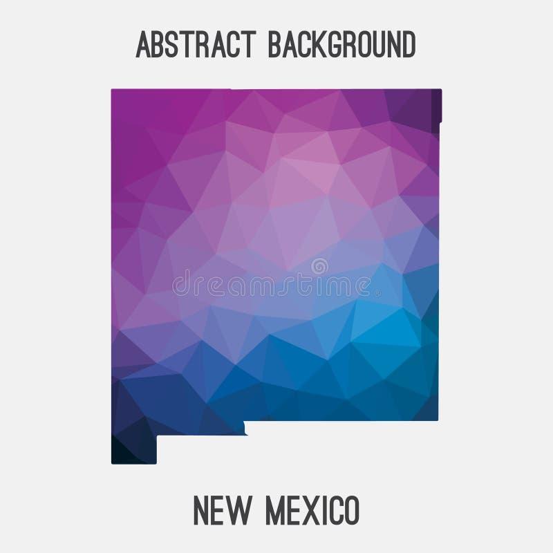 Nytt - Mexiko översikt i geometriskt polygonal, mosaikstil stock illustrationer