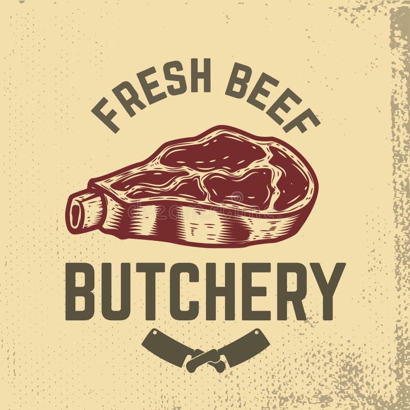 nytt nötkött butchery Hand dragit rått kött på grungebakgrund royaltyfri illustrationer