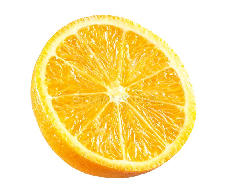 Nytt orange Halva-snitt på vit royaltyfri foto