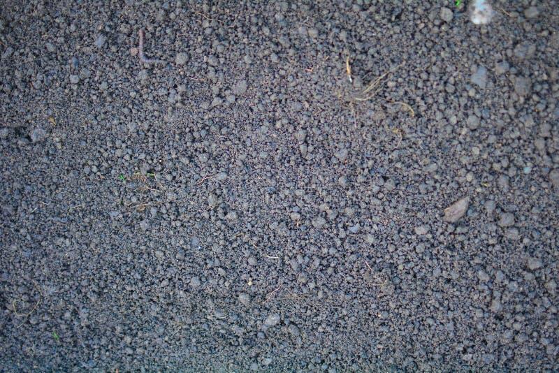 Nytt plogat land En brunaktig l?ttnadstextur L?s jord f?r att plantera Jordbruk Jordbruks- aff?r Teknologi av mat royaltyfri bild