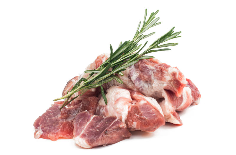 Nytt rått kött med rosmarin arkivbilder
