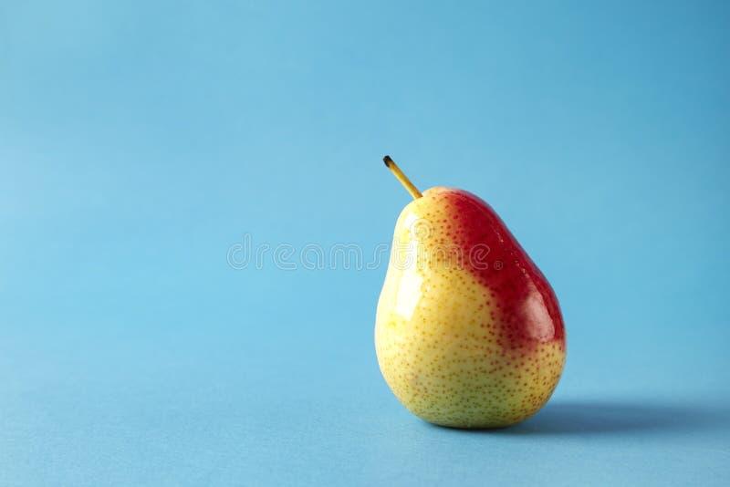 Nytt rött päron på blå bakgrund, modern stilfrukt och grönsakmat, designorientering royaltyfria foton