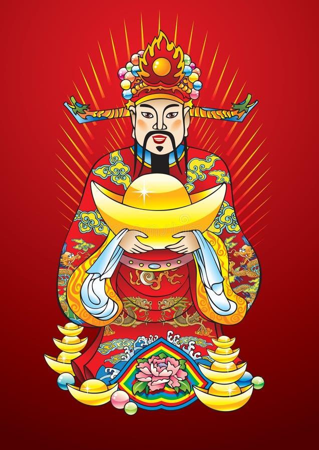 nytt rikedomår för kinesisk gud royaltyfri illustrationer