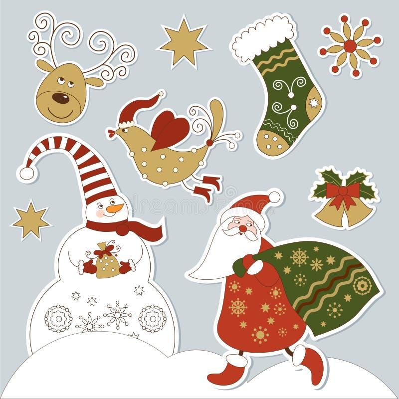 nytt s år för julelement stock illustrationer