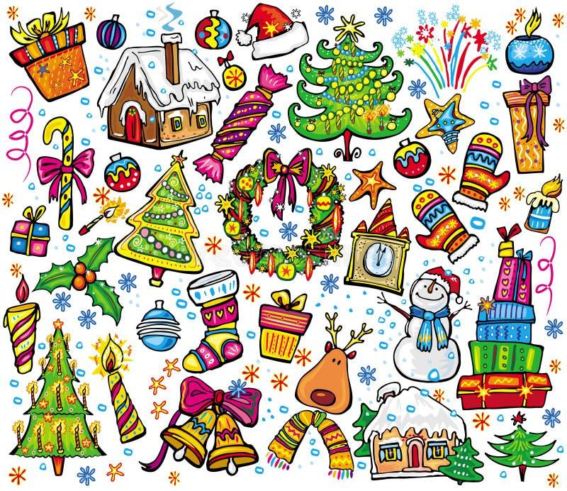 nytt setår för jul stock illustrationer