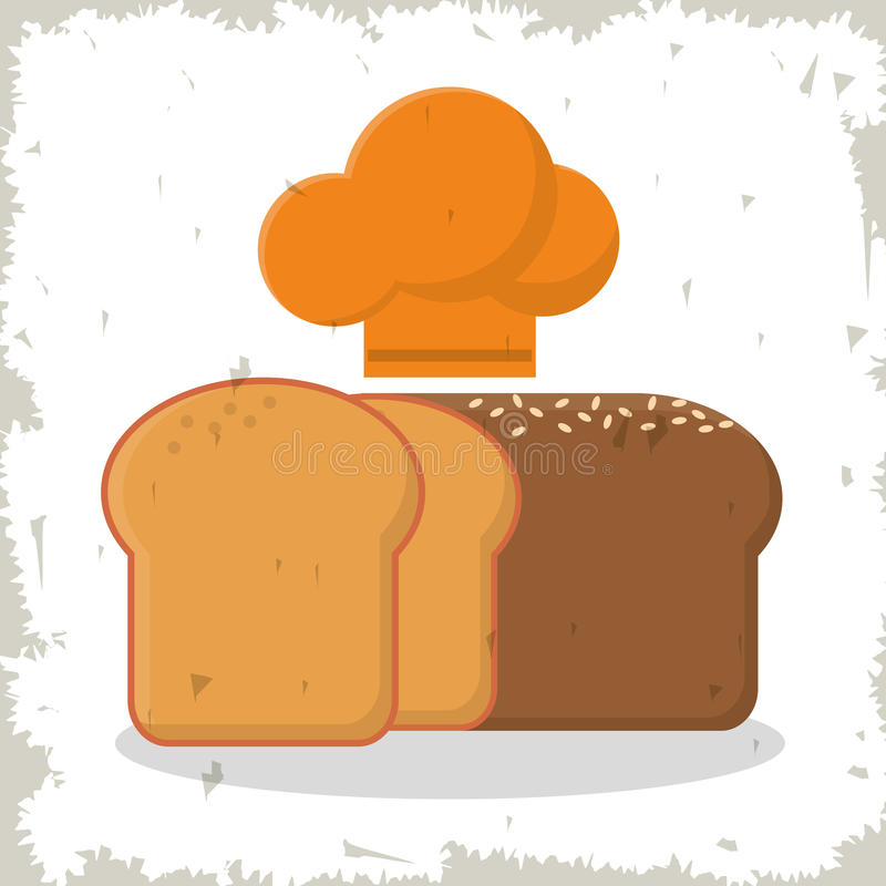 Nytt skivad bakad bröd- och hattkock royaltyfri illustrationer