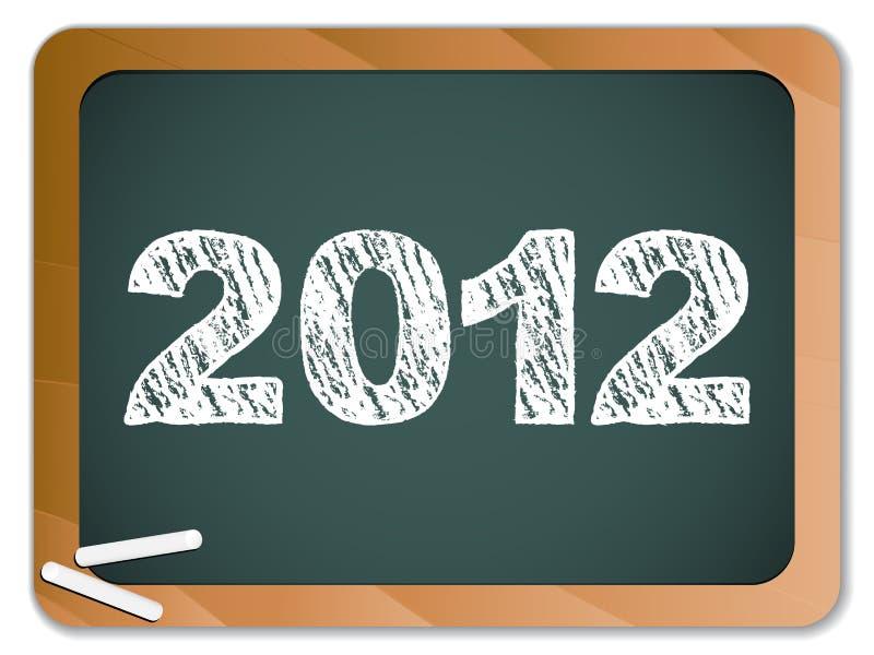 nytt skrivet år 2012 för blackboardkrita royaltyfri illustrationer