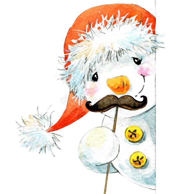 nytt snowmanår och julgarnering för flygillustration för näbb dekorativ bild dess paper stycksvalavattenfärg vektor illustrationer