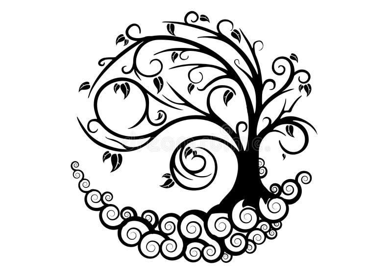 Nytt stilvektorträd royaltyfria bilder