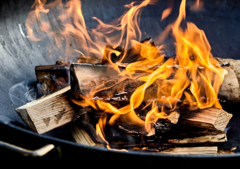 Nytt tänd grillfestbrand med brinnande journaler royaltyfri fotografi
