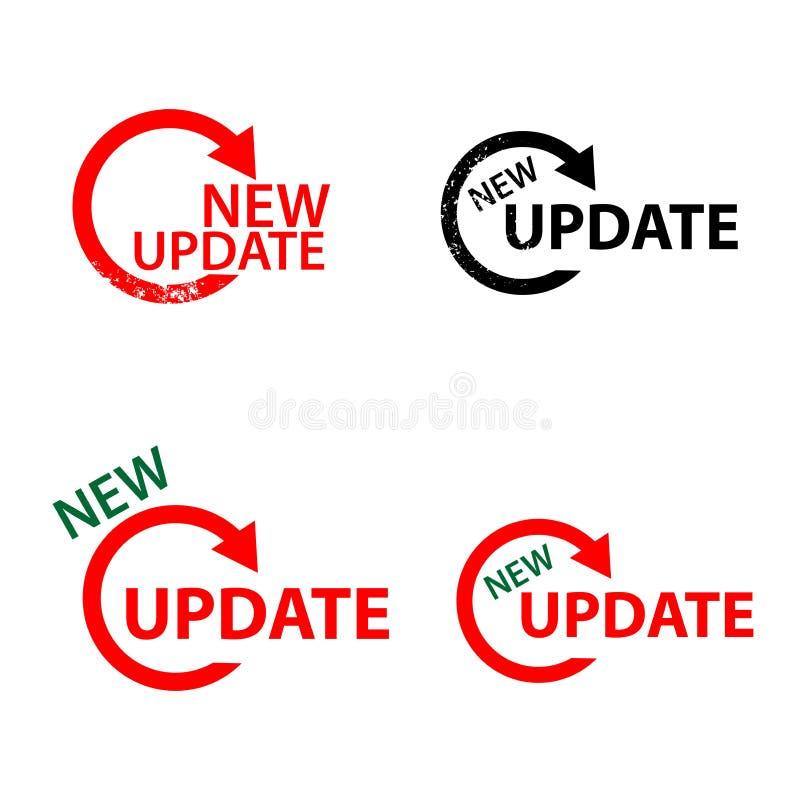Nytt uppdateringtecken vektor illustrationer