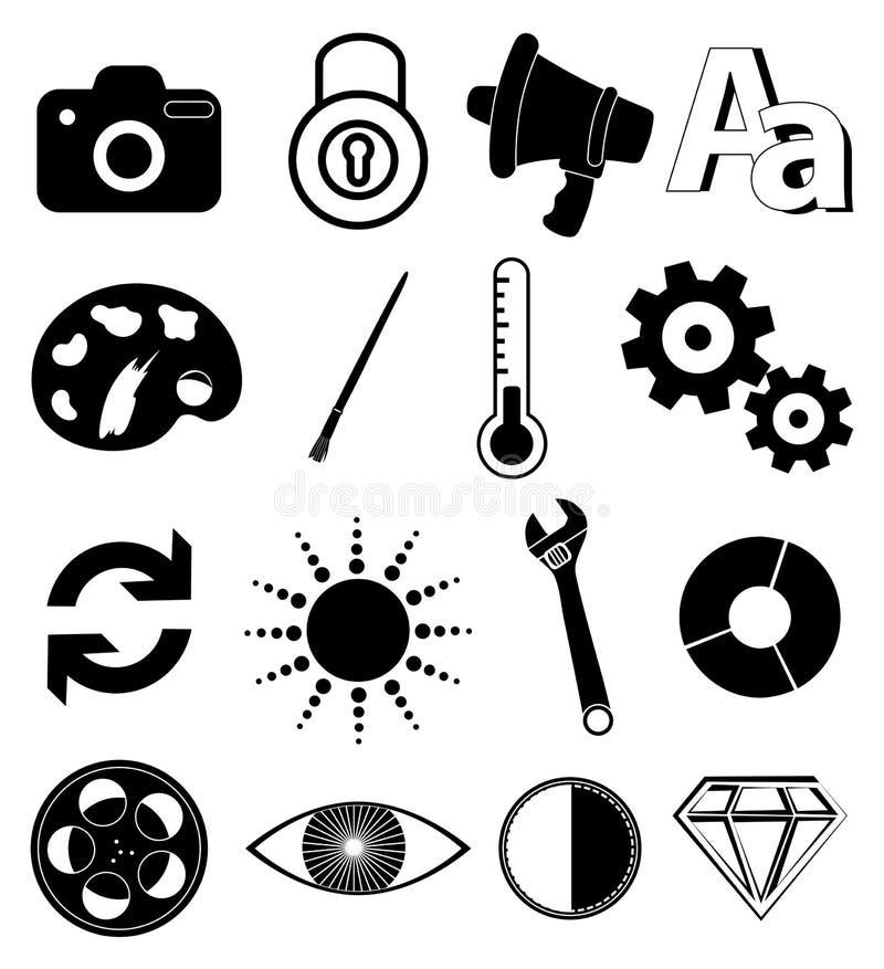 Nytto- appssymbolsuppsättning stock illustrationer