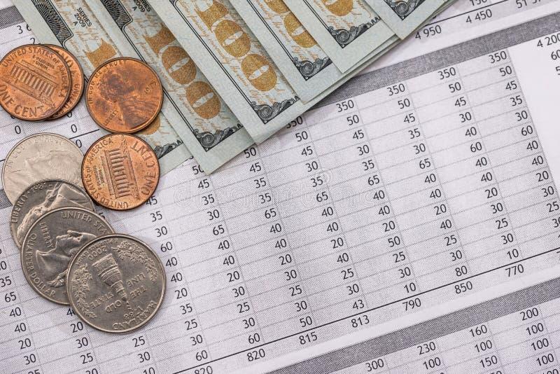 Nytto- räkning med oss mynt och dollar arkivfoto