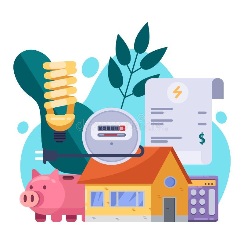 Nytto- räkningar och besparingresursbegrepp Plan illustration för vektor Elektricitetsfakturabetalning stock illustrationer