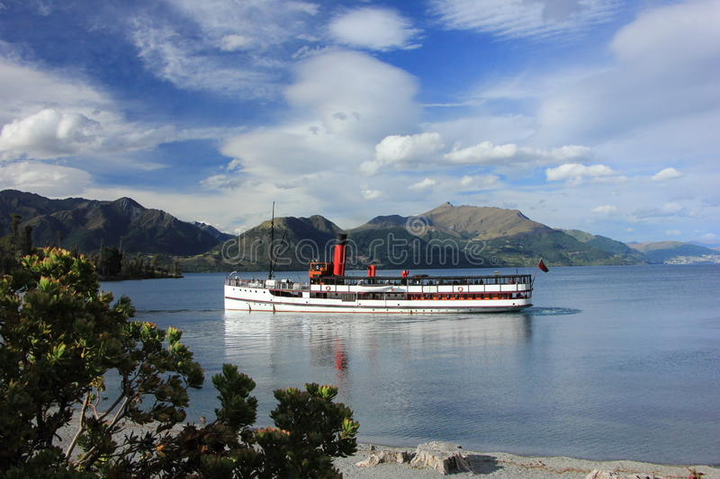 NZ, South Island, Queenstown, old fashion ferry royalty free stock photography