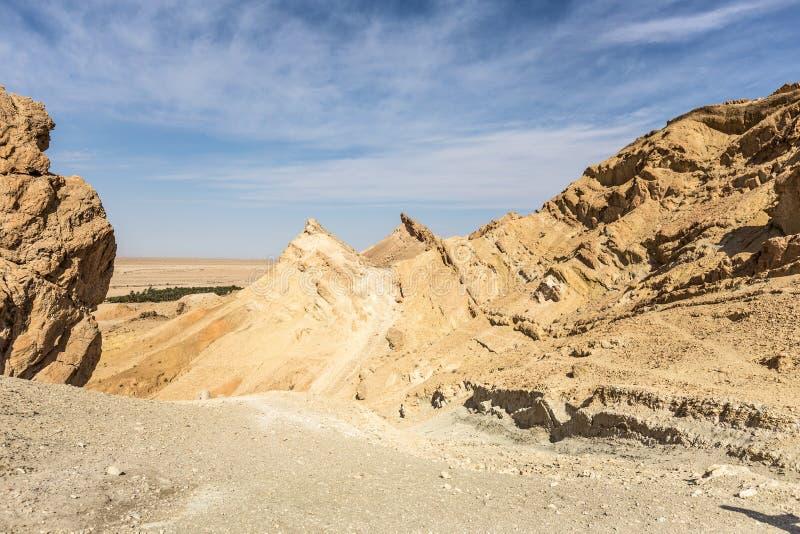 Oásis Chebika da montanha no deserto de Sahara, Tunísia foto de stock royalty free