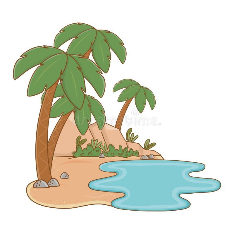 Oásis da paisagem na areia ilustração stock