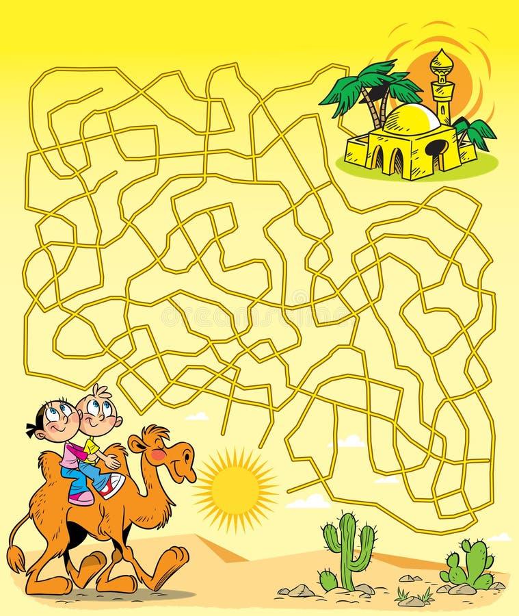 Oásis do labirinto no deserto ilustração stock