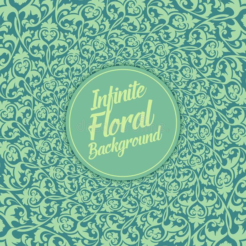Oändlig blom- bakgrund för vektor Elegant gammalmodig blom- prydnad, utsökt blom- mall vektor illustrationer