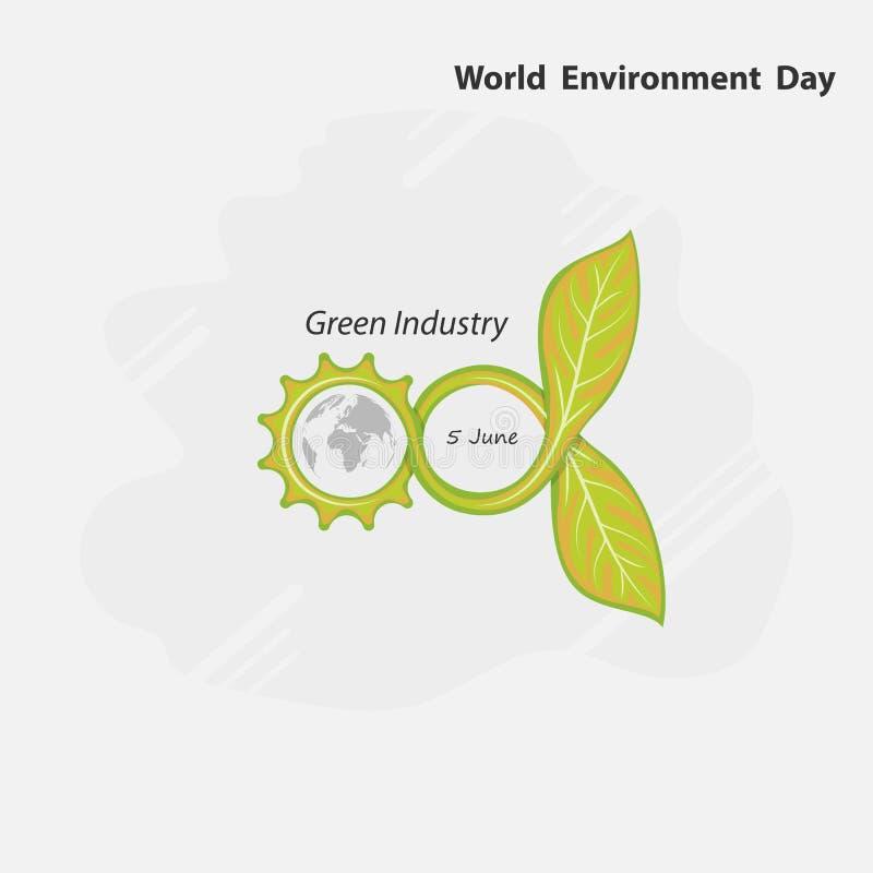 Oändlig och grön begrepp för kugghjul, Jordklot- och bladtecken Värld Envir royaltyfri illustrationer