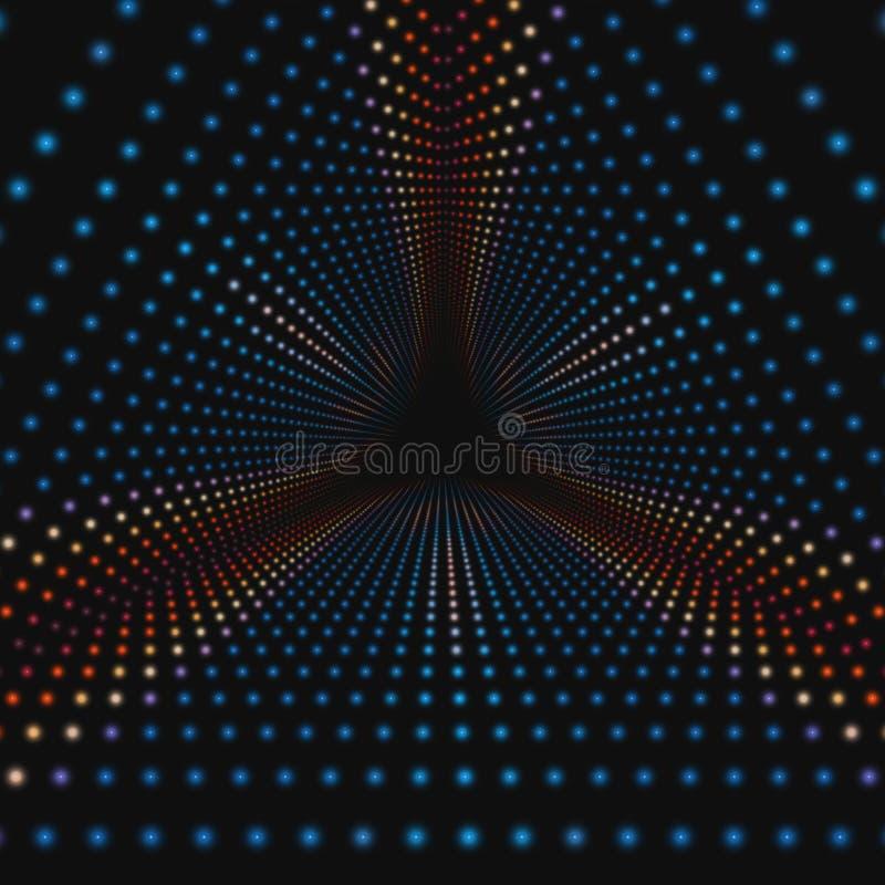Oändlig triangulär tunnel för vektor av färgrika cirklar på mörk bakgrund Sektorer för sfärformtunnel royaltyfri illustrationer