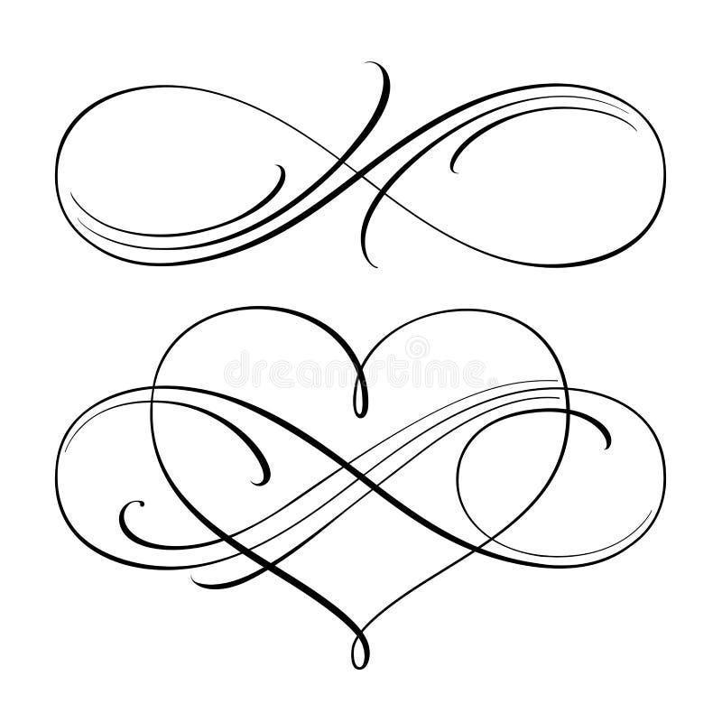 Oändliga förälskelsesymboler vektor illustrationer
