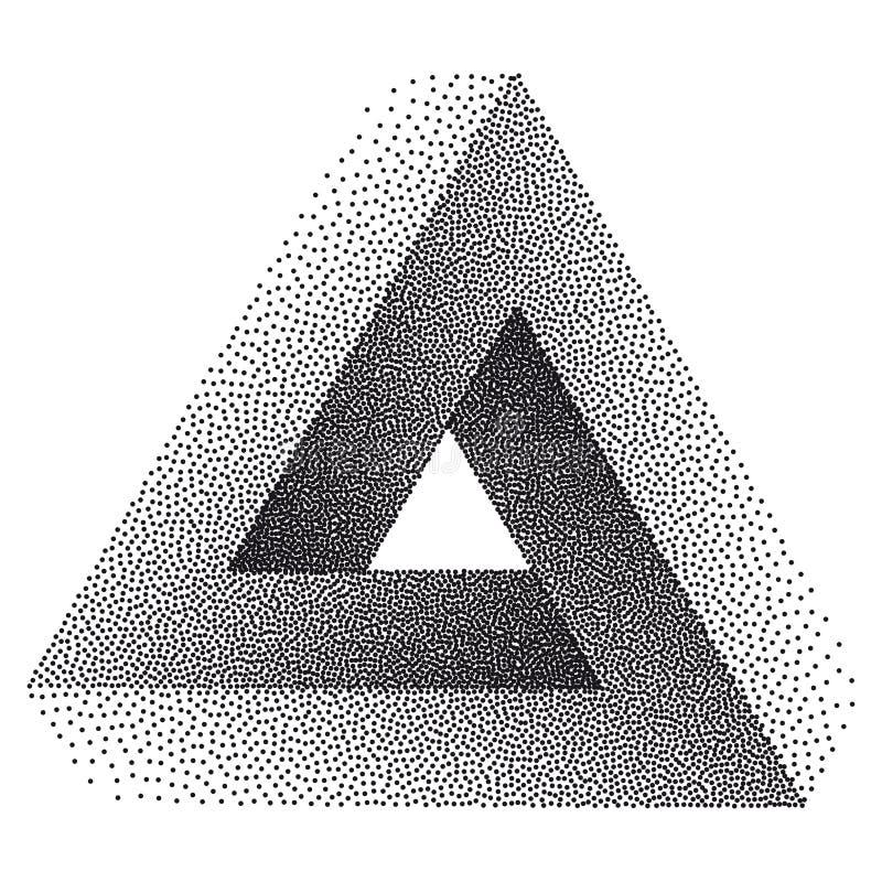 Oändlighet eller omöjlig triangel Penrose triangel med svarta prickar Overkligt geometriskt symbol för ditt affärsprojekt royaltyfri illustrationer