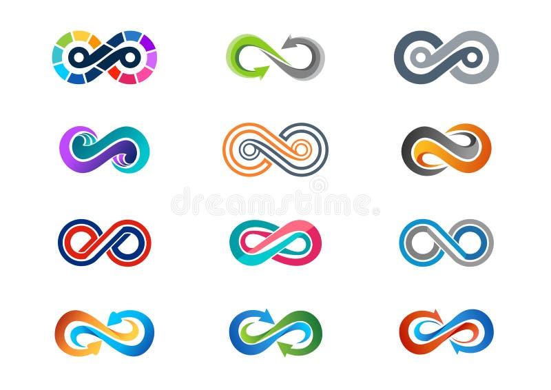 Oändlighet logo, modern abstrakt oändlighetsuppsättning av vektorn för design för logotypsymbolsymbol vektor illustrationer