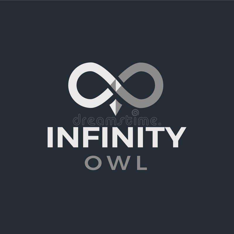 Oändlighet Owl Logo med mörk bakgrund fotografering för bildbyråer