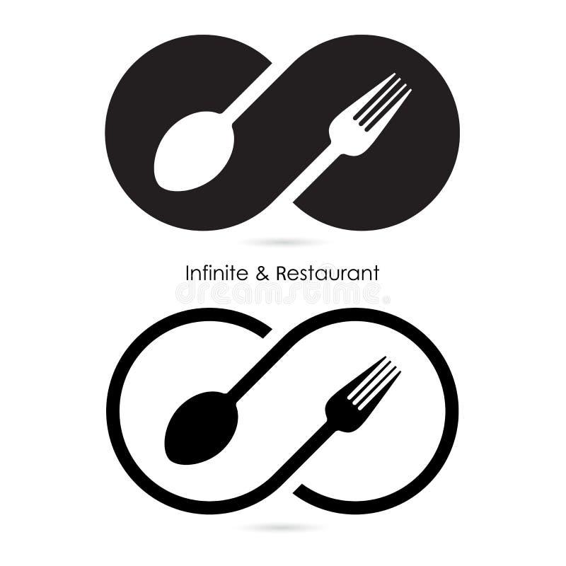 Oändlighet & restaurangsymbol Mat- & oändlighetssymbol Gaffel & sked stock illustrationer