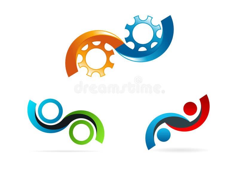 Oändlighetslogo, cirkelkugghjulsymbol, service, konsultera, symbol och conceptof den oändliga teknologivektordesignen stock illustrationer