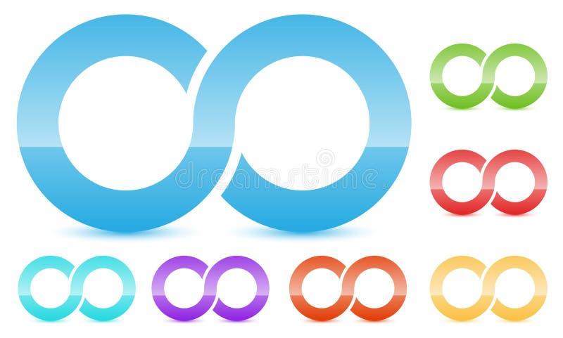Oändlighetssymbol i flera färg Symbol för kontinuitet, ögla, slut vektor illustrationer