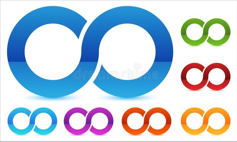 Oändlighetssymbol i flera färg Symbol för kontinuitet, ögla, slut royaltyfri illustrationer