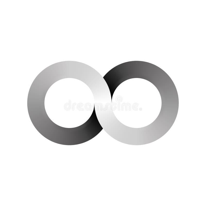Oändlighetssymbolsymbol, aka lemniscate, blickar som nummer åt sidan åtta Matematiskt symbol som föreställer begreppet av vektor illustrationer