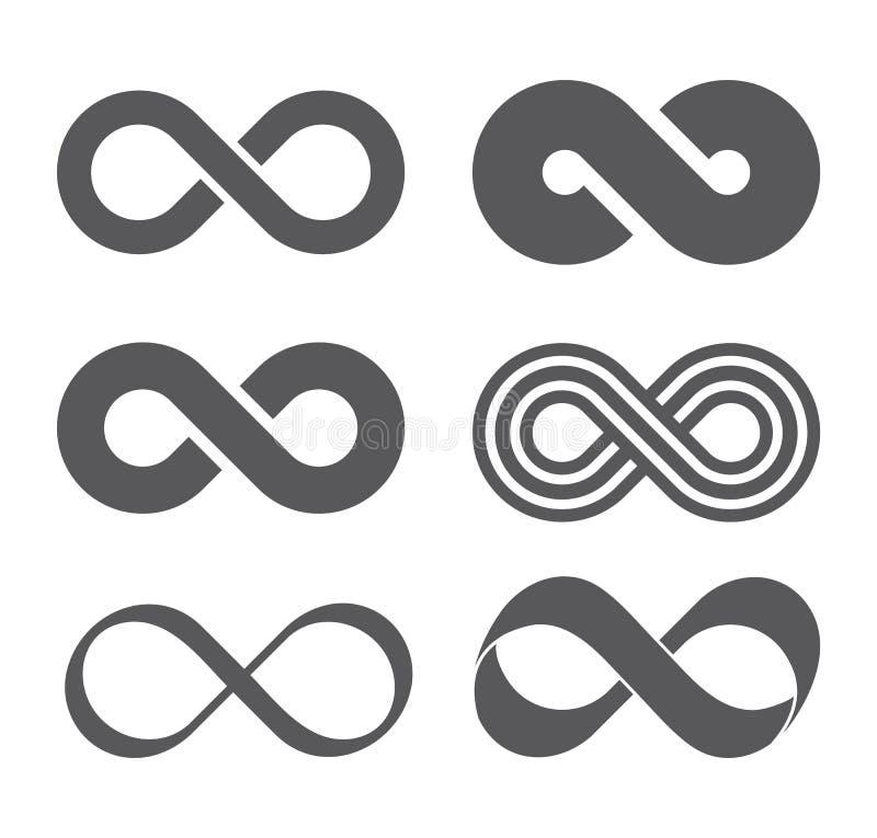 Oändlighetstecken Mobius remsa vektor illustrationer