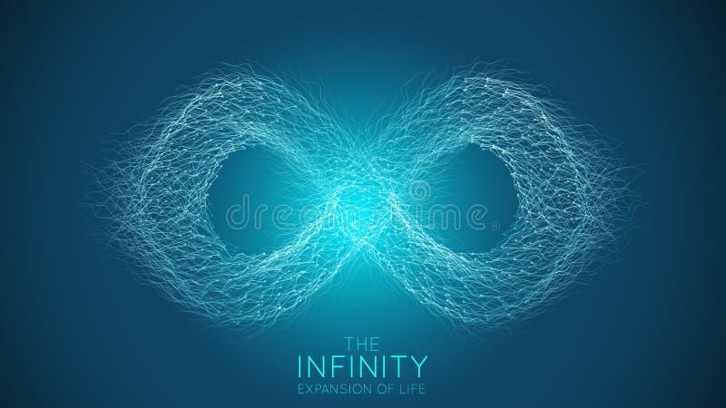 Oändlighetsutvidgning av liv Bakgrund för explosion för vektoroändlighetstecken Sm? partiklar str?var ut ur mitt _ vektor illustrationer