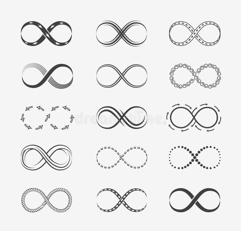 Oändlighetsvektorlinje symboler royaltyfri illustrationer