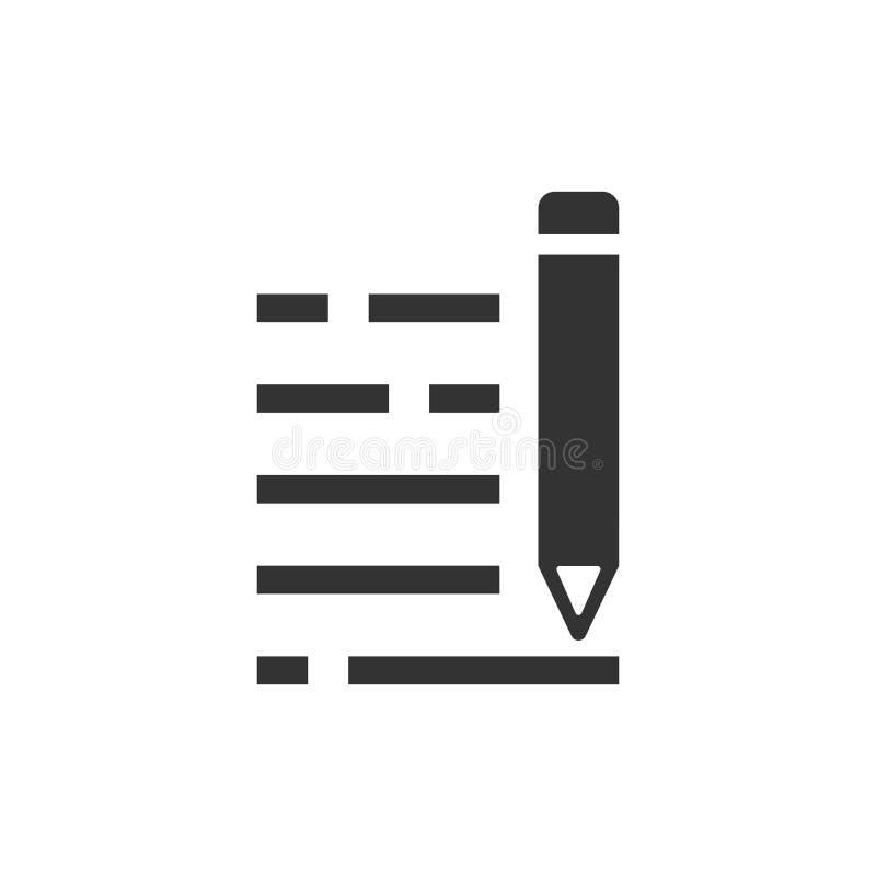 Ołówkowa notepad ikona w mieszkanie stylu Dokument pisze wektorowej ilustracji na białym odosobnionym tle Pióra rysunkowy bizneso ilustracja wektor