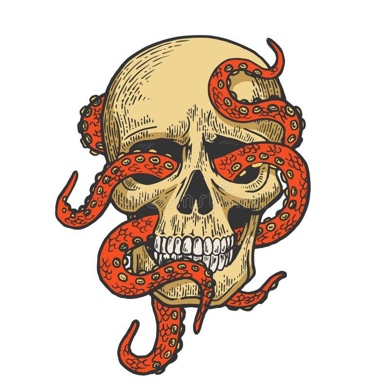 Ośmiornica w ludzkim czaszka koloru nakreślenia wektorze ilustracja wektor