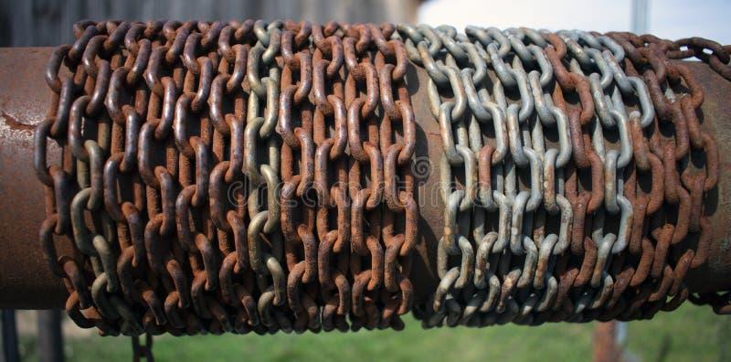 Ośniedziały łańcuch zawijający wokoło tubki na stary wodnym dobrze obraz stock