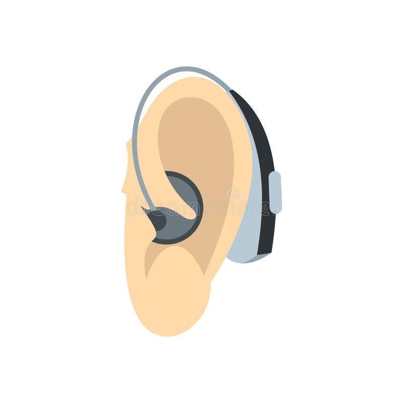 Oído con el icono del audífono, estilo plano stock de ilustración