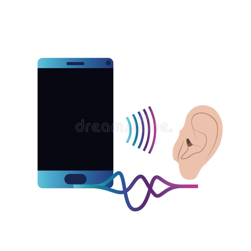 Oído con la onda acústica y el smartphone libre illustration