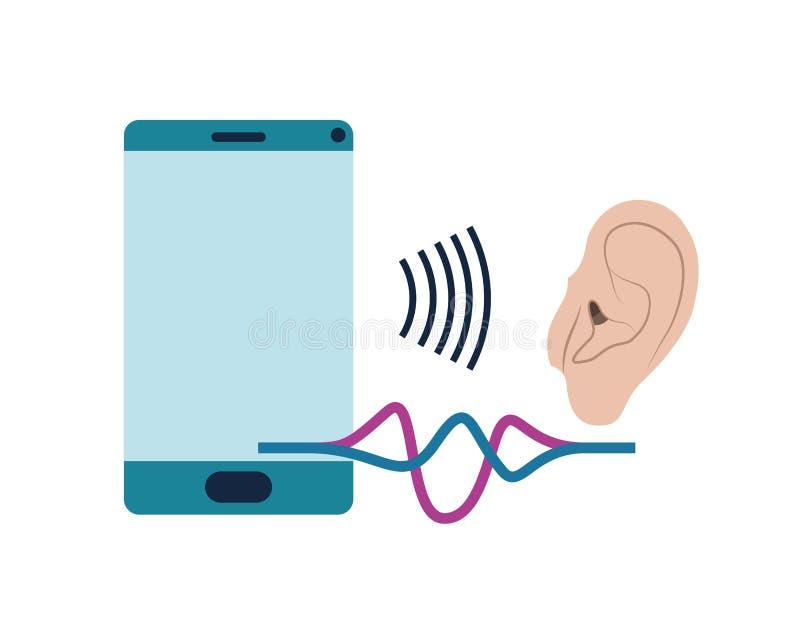 Oído con la onda acústica y el smartphone stock de ilustración