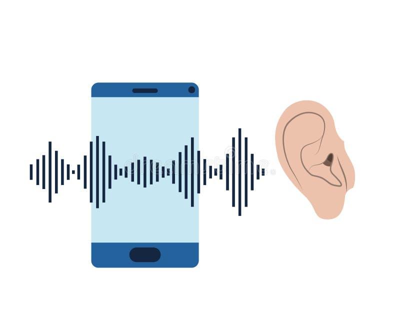 Oído con la onda acústica y el smartphone ilustración del vector
