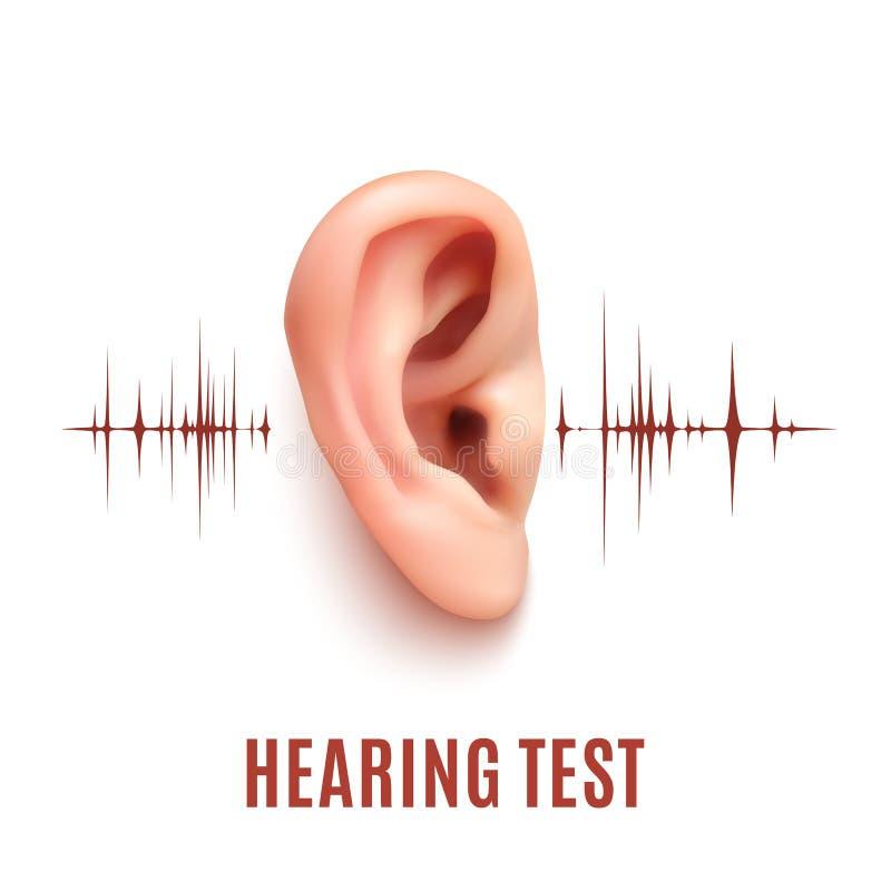 Oído de la prueba de audiencia en el fondo blanco ilustración del vector
