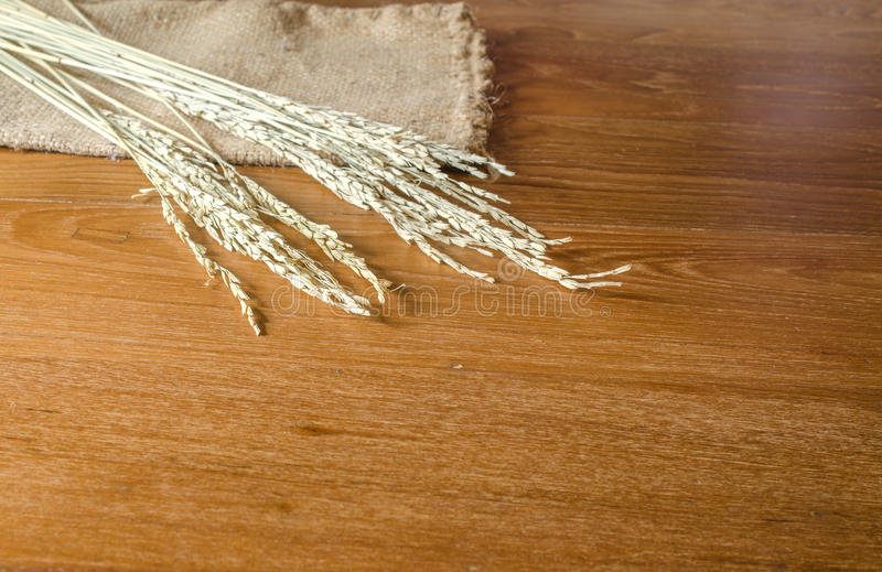 oído del arroz con el bolso del saco en el tablero de madera fotos de archivo libres de regalías