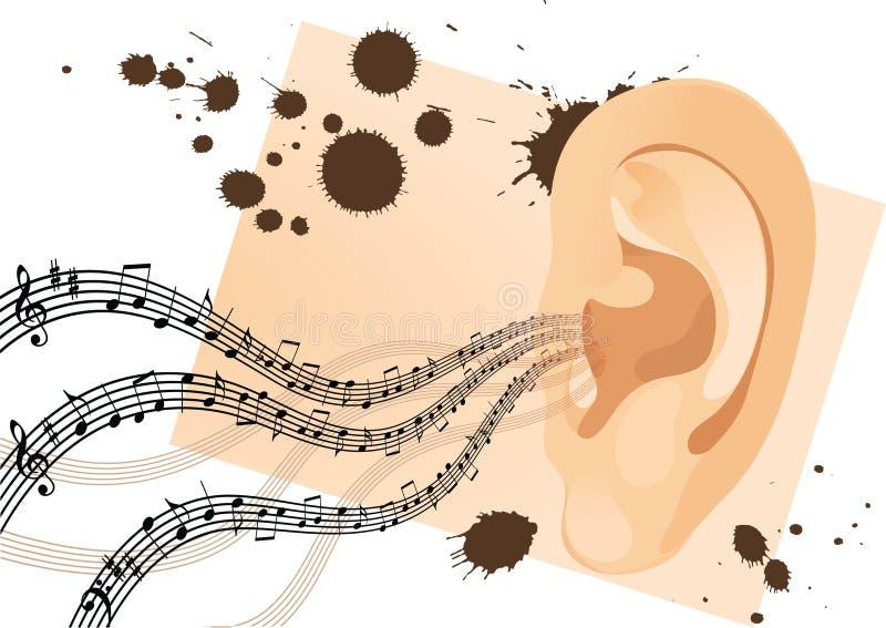 Oído del ser humano de Grunge stock de ilustración