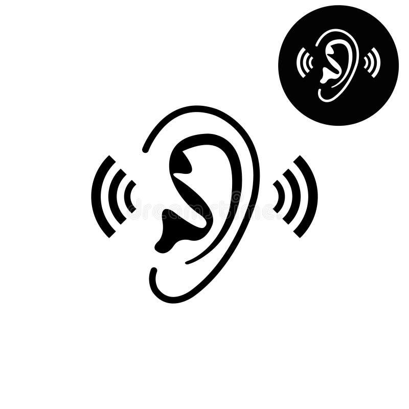 Oído - icono blanco del vector libre illustration