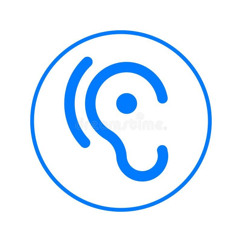 Oído, línea circular icono de la audición Muestra colorida redonda Símbolo plano del vector del estilo ilustración del vector